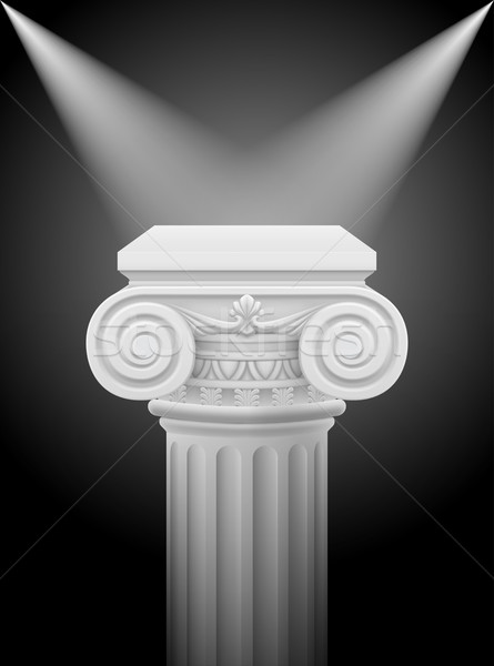 Foto stock: Iônico · coluna · clássico · luzes · ilustração · preto