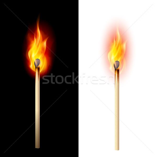 Сток-фото: сжигание · матча · реалистичный · иллюстрация · белый · черный