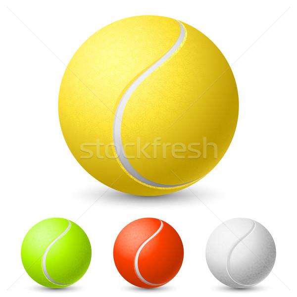 Realistisch tennisbal verschillend kleuren illustratie witte Stockfoto © dvarg