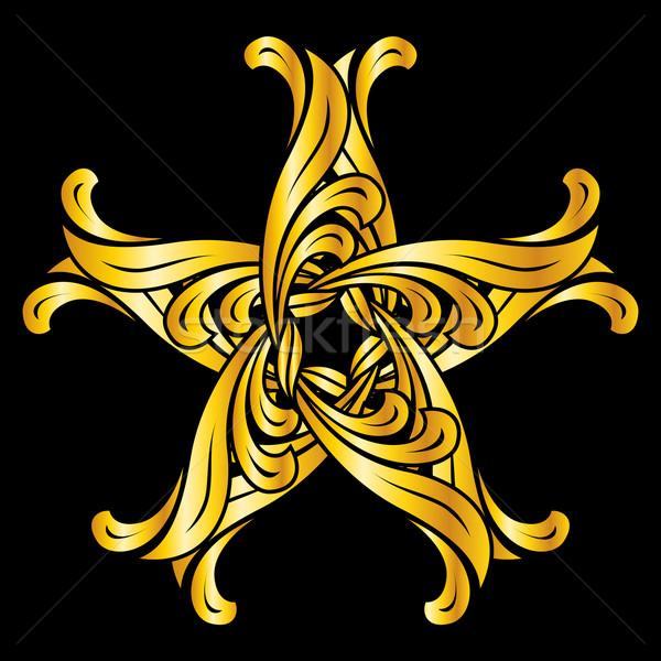 Zdjęcia stock: Kwiatowy · wzór · streszczenie · ozdoba · złoty · czarny