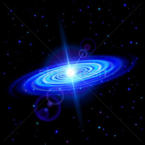 Blauw Galaxy ruimte heldere gloed sterren Stockfoto © dvarg