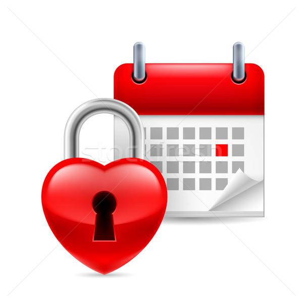 Heart lock and calendar Stock photo © dvarg