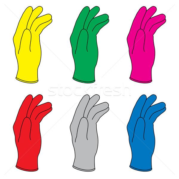 Rubberen handschoenen zes kleuren hand palm geneeskunde Stockfoto © dvarg