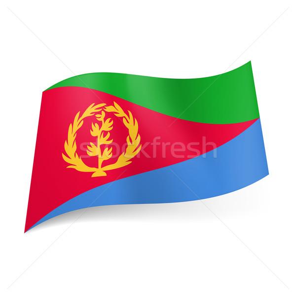 Banderą Erytrea czerwony trójkąt żółty wieniec Zdjęcia stock © dvarg