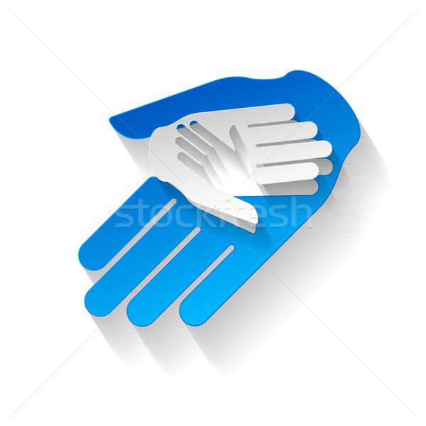 Kâğıt eller üç stil yardım takım çalışması Stok fotoğraf © dvarg