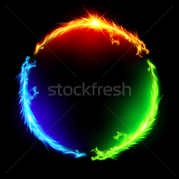 Fire dragons in circle. Stock photo © dvarg