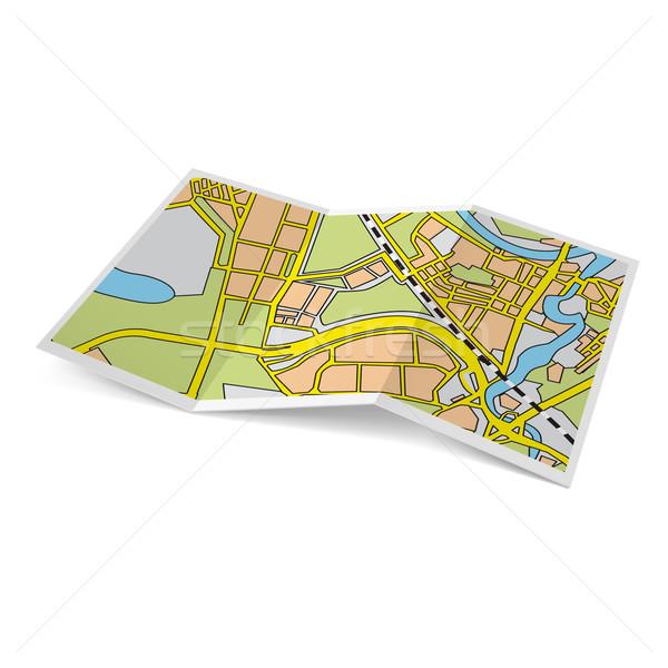 Kaart boekje illustratie stad witte papier Stockfoto © dvarg