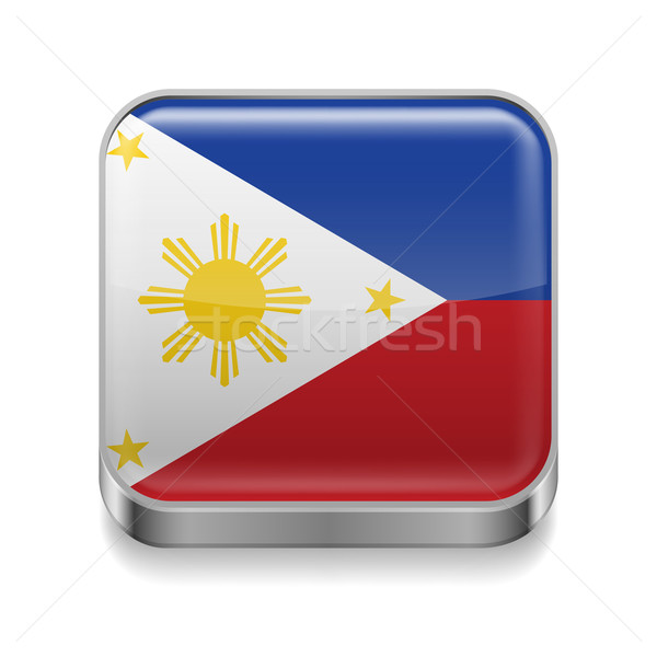 Métal icône Philippines carré pavillon couleurs Photo stock © dvarg