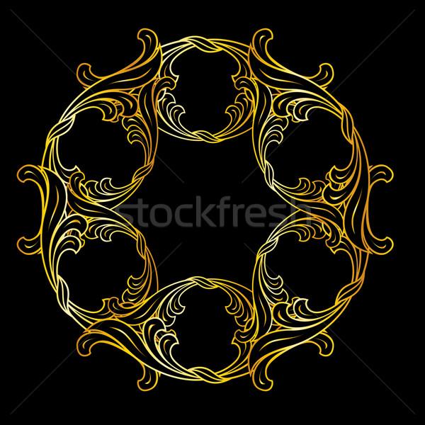 Złoty kwiatowy wzór ozdoba kolory czarny Zdjęcia stock © dvarg