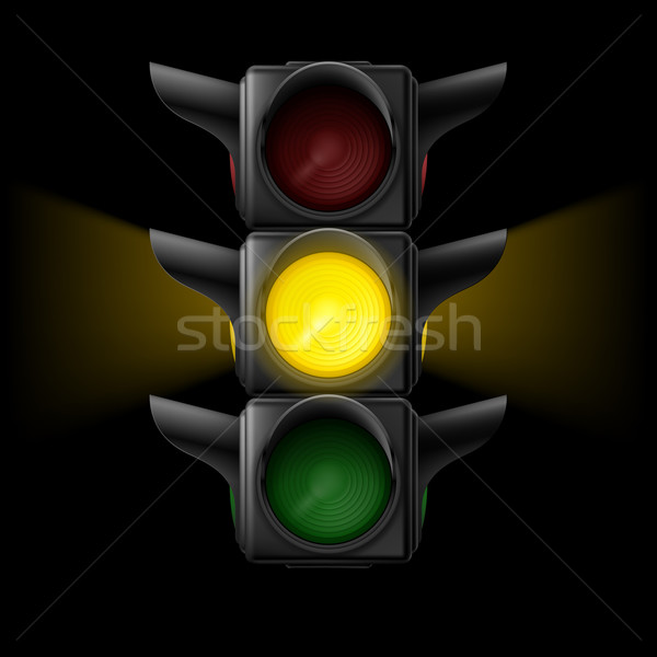 Traffic light with yellow on  Stock photo © dvarg