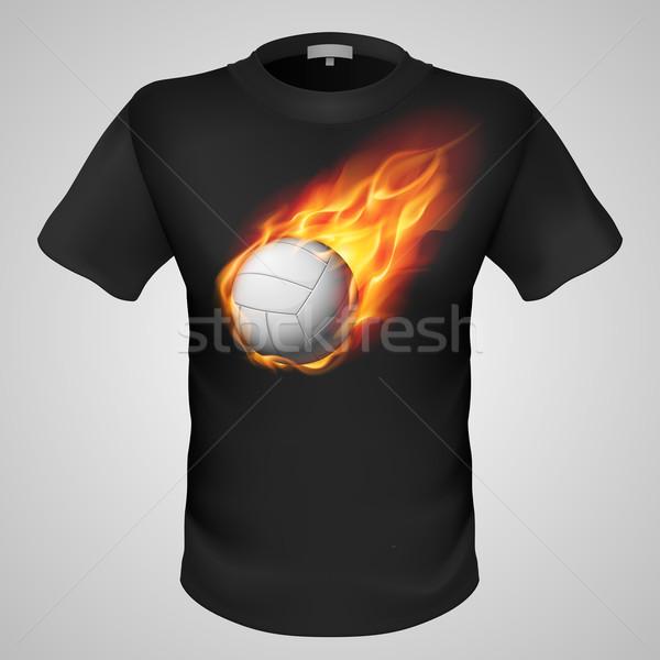 Férfi póló nyomtatott fekete tüzes röplabda Stock fotó © dvarg