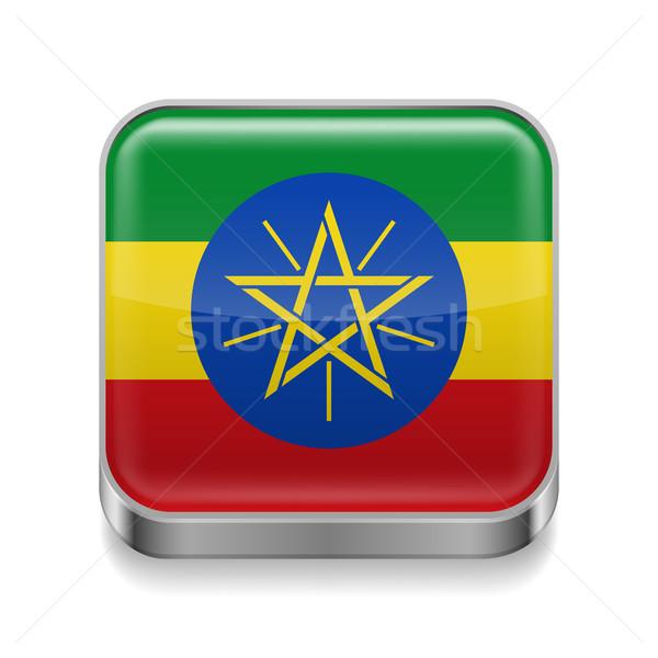 Metaal icon Ethiopië vierkante ethiopiër vlag Stockfoto © dvarg