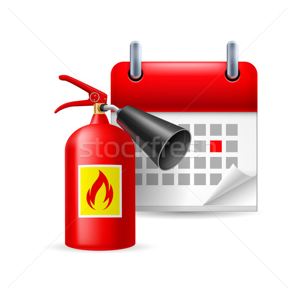 Fire extinguisher and calendar Stock photo © dvarg