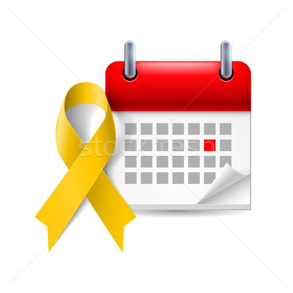Geel bewustzijn lint kalender dag bot Stockfoto © dvarg