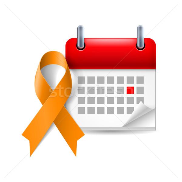 Orange awareness ribbon and calendar Stock photo © dvarg