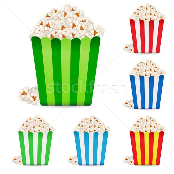 Popcorn in multi-colored striped packages Stock photo © dvarg