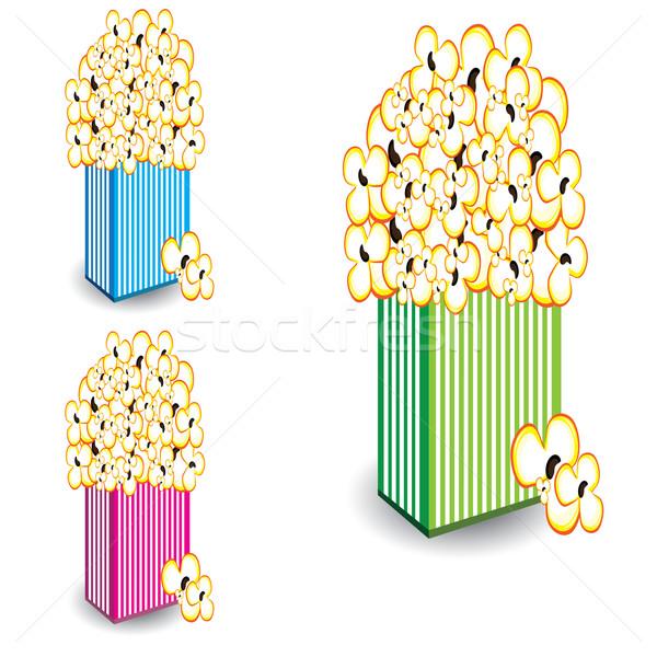 Popcorn in multi-colored striped  Stock photo © dvarg