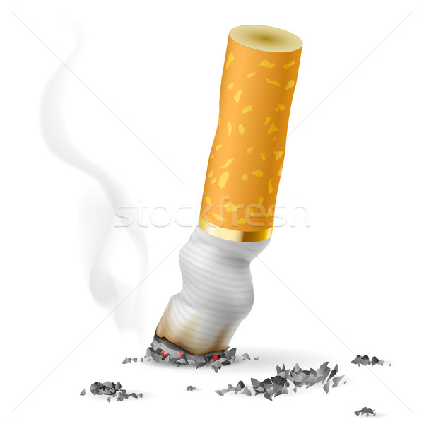 Réaliste cigarette Butt illustration blanche fumée Photo stock © dvarg