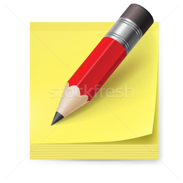 Etiqueta lápiz amarillo ilustración blanco creativa Foto stock © dvarg