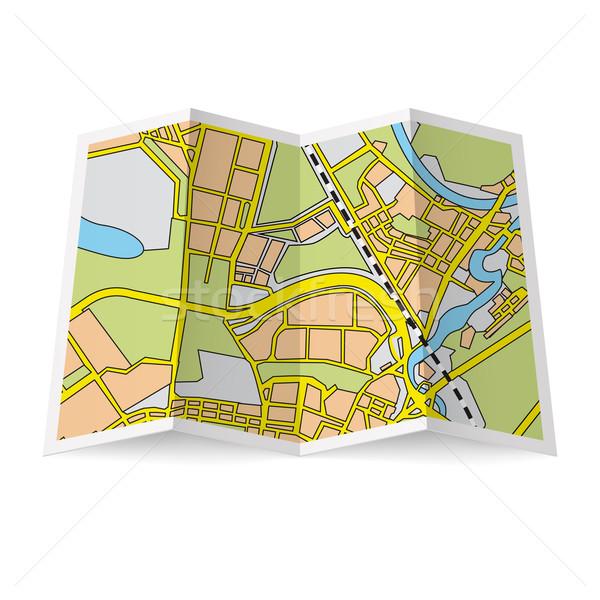 地図 小冊子 実例 折られた 白 紙 ストックフォト © dvarg