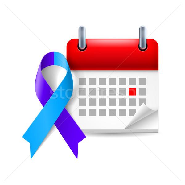Blue and purple awareness ribbon and calendar Stock photo © dvarg