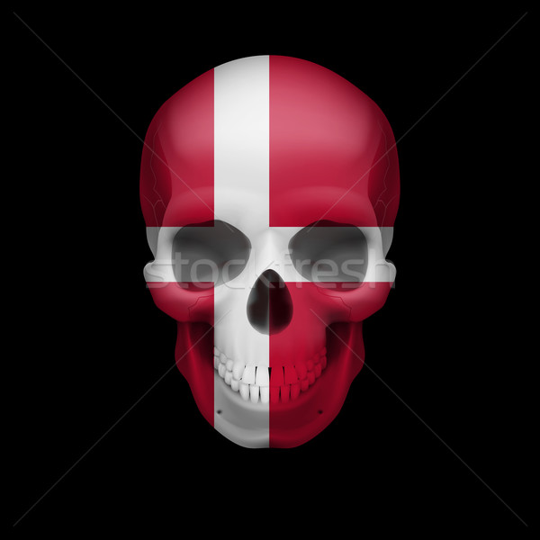 Danish flag skull Stock photo © dvarg