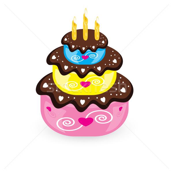 Születésnapi torta gyertya illusztráció fehér étel buli Stock fotó © dvarg