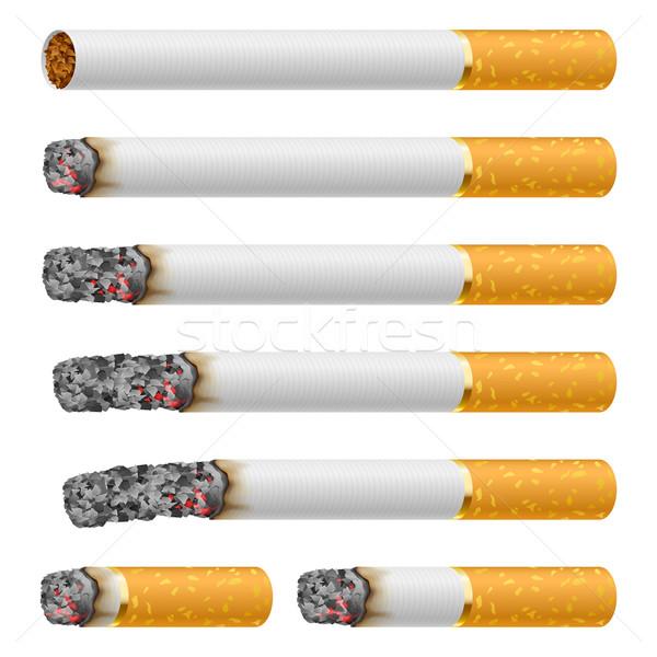 Foto d'archivio: Set · sigarette · diverso · isolato · bianco