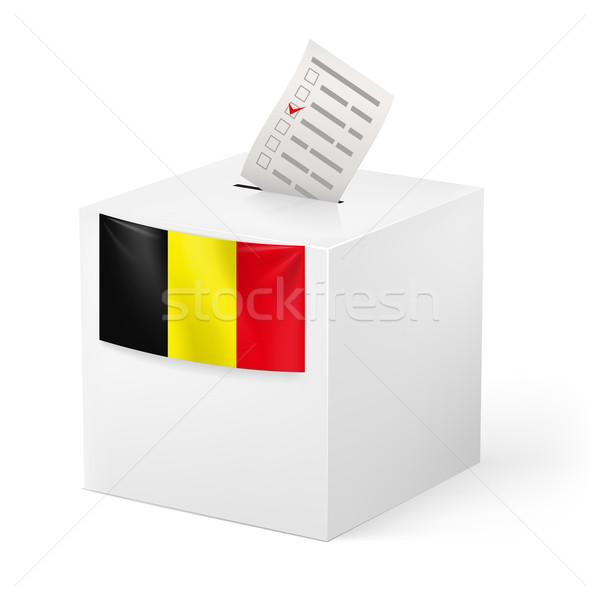 Photo stock: Scrutin · boîte · papier · Belgique · élection · isolé