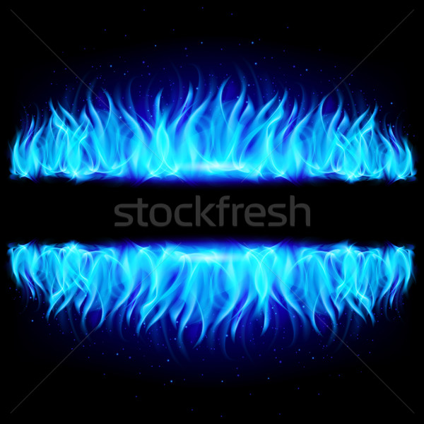 Two walls of blue fire on black. Stock photo © dvarg