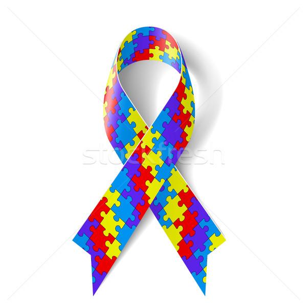 Puzzel lint kleurrijk symbool autisme bewustzijn Stockfoto © dvarg