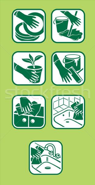 ストックフォト: 国内の · 洗浄 · アイコン · ベクトル · 緑