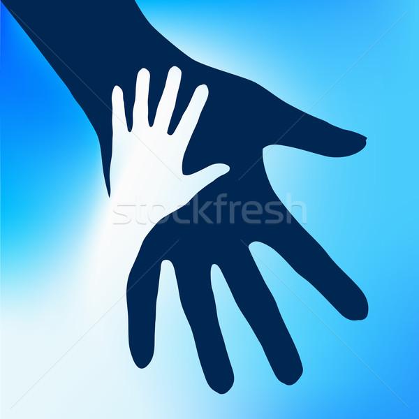 помогают рук ребенка иллюстрация синий дизайна Сток-фото © dvarg