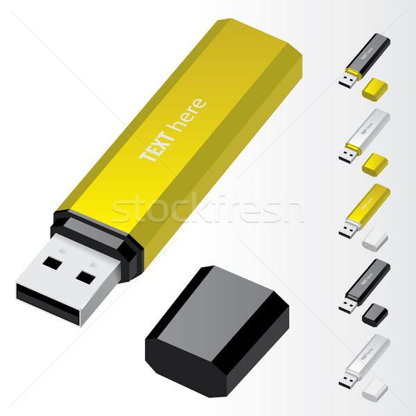 Stockfoto: Usb · flash · drive · Geel · vector · iconen · computer