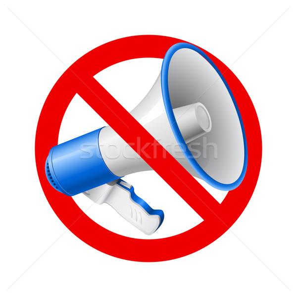Nem audio megengedett felirat megafon piros Stock fotó © dvarg