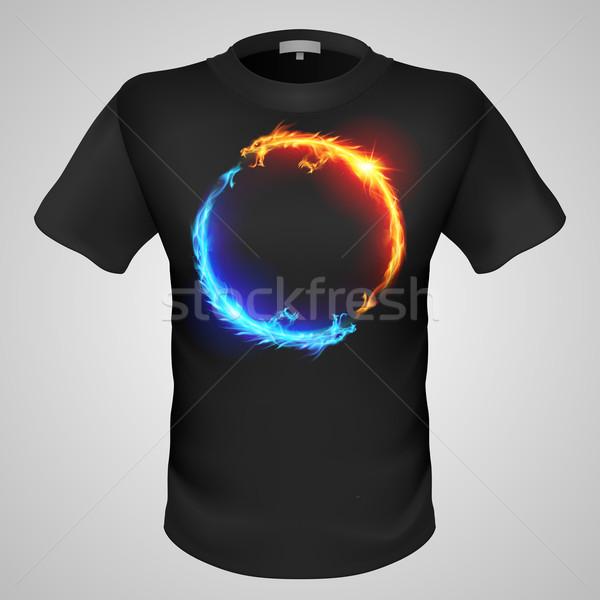 Homme tshirt imprimer noir deux feu Photo stock © dvarg
