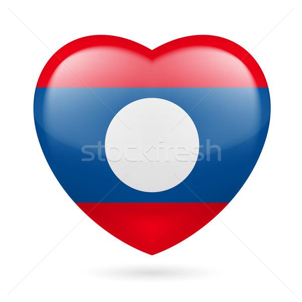 Serca ikona Laos banderą kolory miłości Zdjęcia stock © dvarg