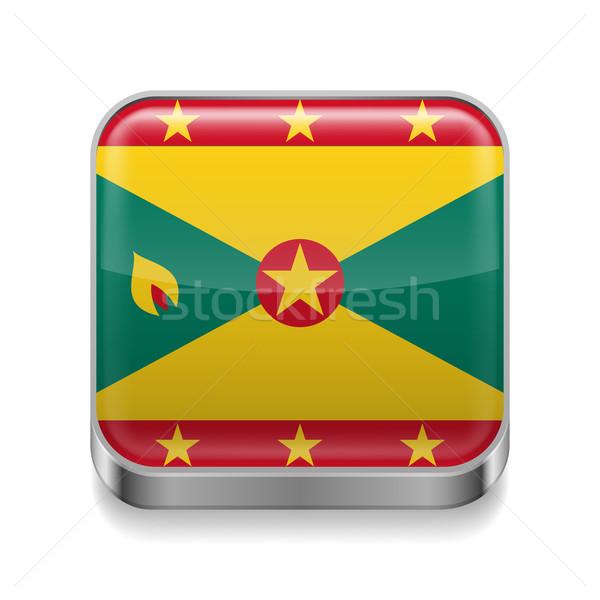 Metaal icon Grenada vierkante vlag kleuren Stockfoto © dvarg