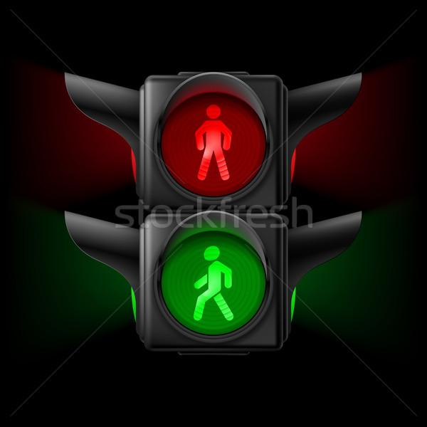 Yaya trafik ışığı gerçekçi trafik ışıkları kırmızı yeşil Stok fotoğraf © dvarg