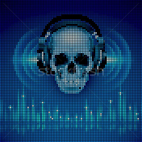 Skull in headphones. LED disco background Stock photo © dvarg