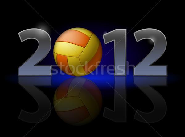 Vinte doze ano voleibol ilustração preto Foto stock © dvarg