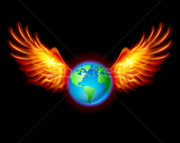 Planet the Earth with fiery wings Stock photo © dvarg