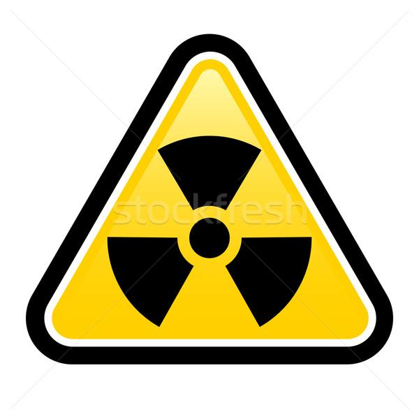 предупреждение излучение знак желтый треугольник символ Сток-фото © dvarg