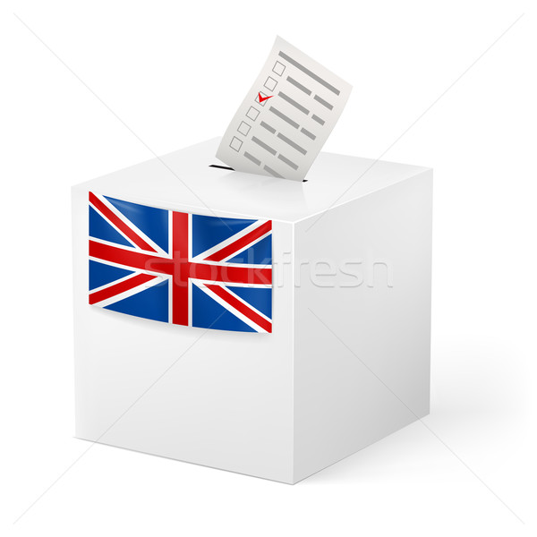 Stock photo: Ballot box with voicing paper. Great Britain.
