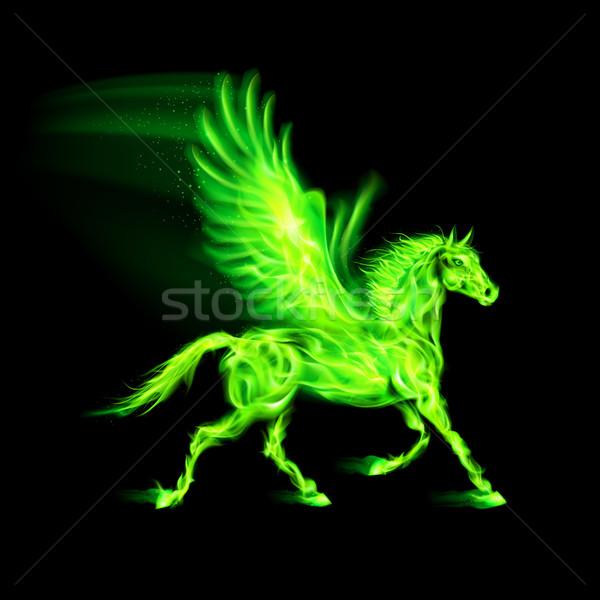 Green fire Pegasus. Stock photo © dvarg