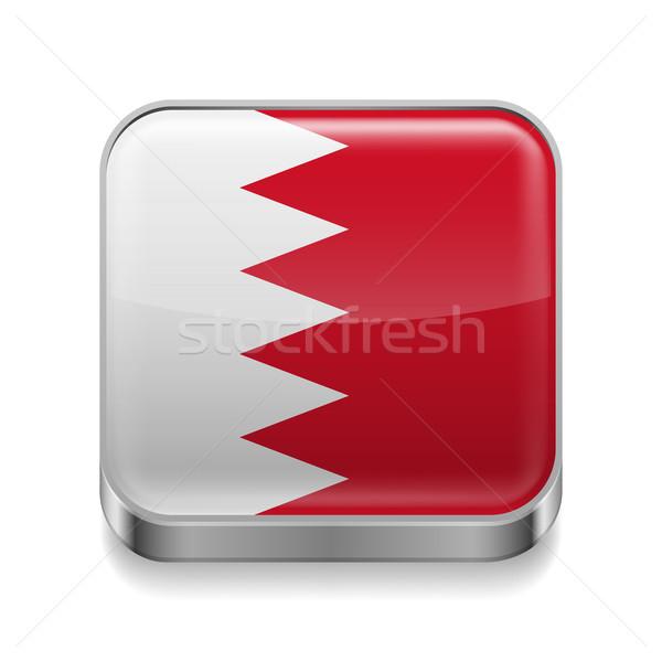 Metal ícone Bahrein praça bandeira cores Foto stock © dvarg