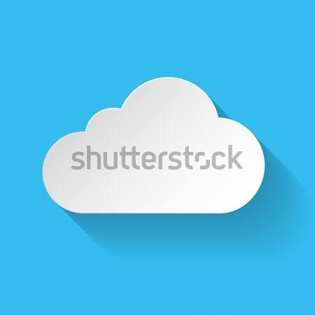 Witte papier wolk stijl lang schaduw Stockfoto © dvarg