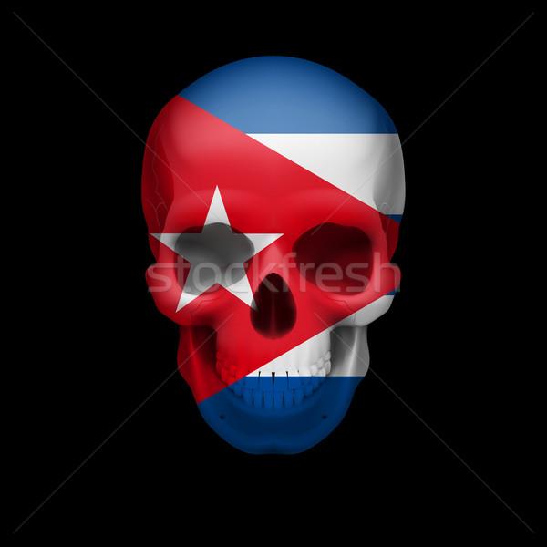 Cubaans vlag schedel menselijke Cuba bedreiging Stockfoto © dvarg