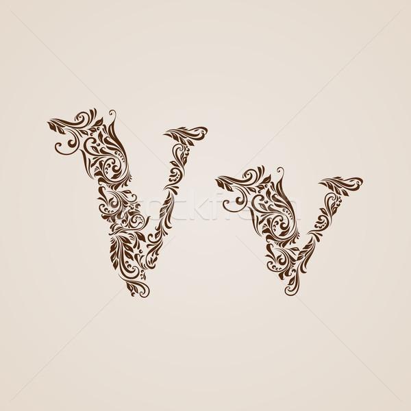 Decorated letter v Stock photo © dvarg
