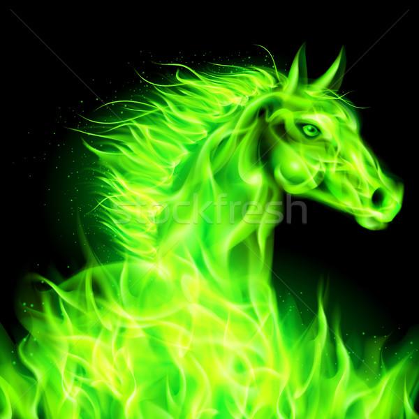 Green fire horse. Stock photo © dvarg